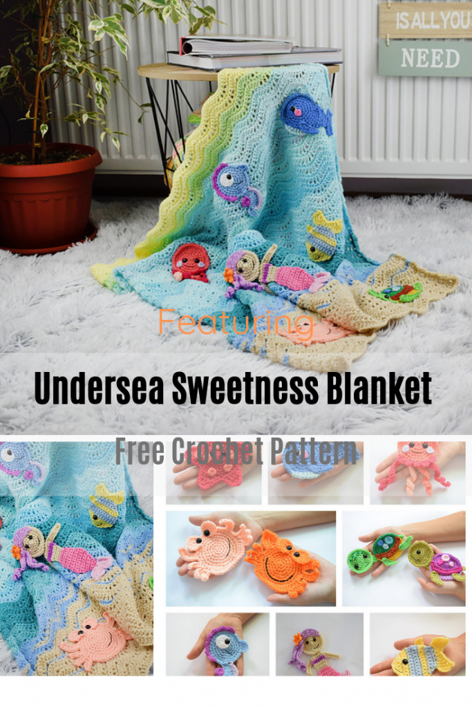 Easy But Stunning Baby Blanket With Crochet Sea Creatures Appliques