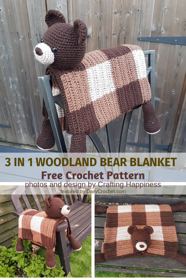 Cuddly 3 in 1 Bear Blanket Crochet Pattern