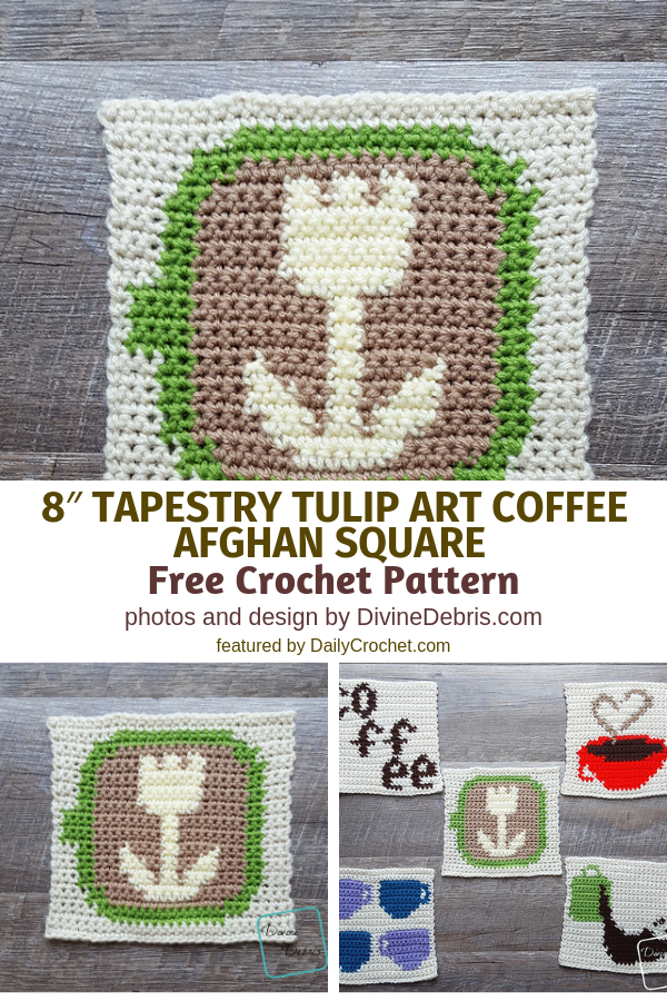 Tapestry Crochet Tulip Square To Bring Spring Fever Into Your Decor