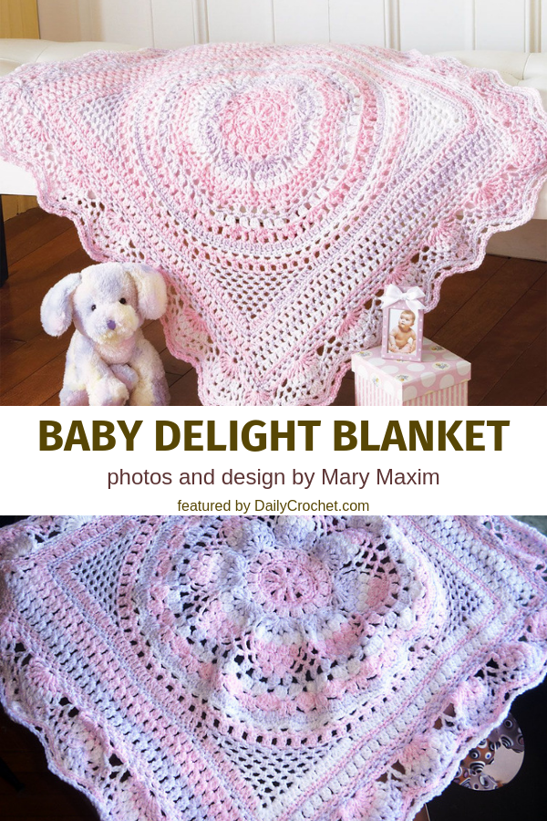 Flower Circle In The Square Lacy Baby Blanket Crochet Pattern