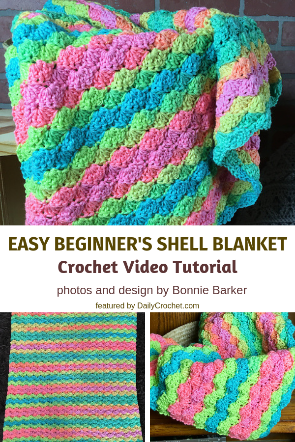 Easy Shell Stitch Baby Blanket For Beginners ( Video Tutorial)