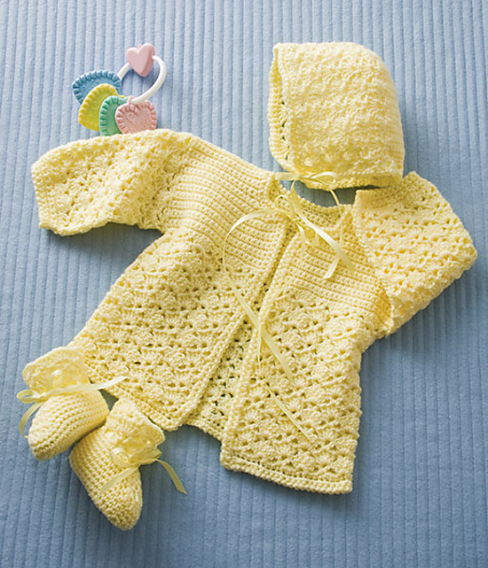 Shell Stitch Crochet Baby Sweater Set Pattern