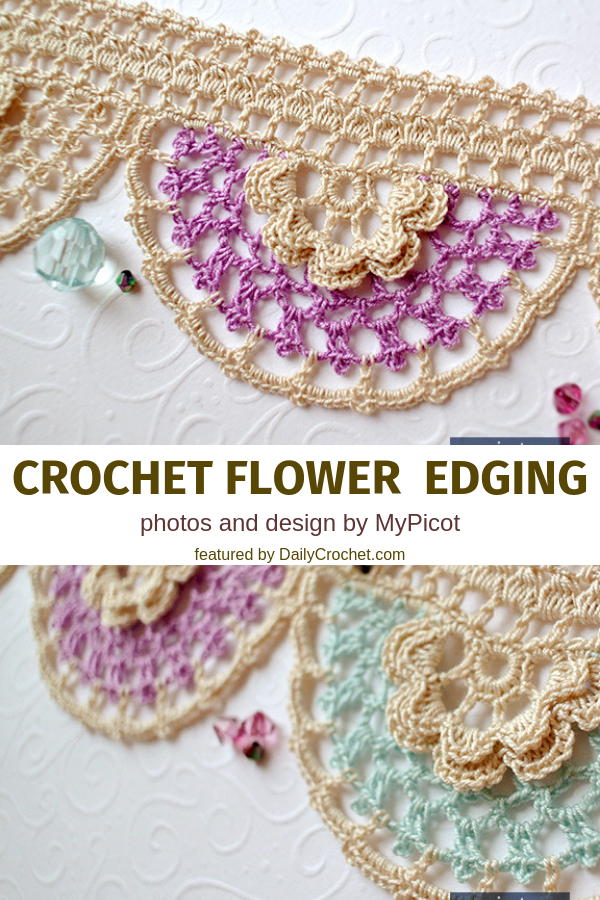 Free Crochet Flower Edging Pattern To Add The Finishing Touch To A Blanket