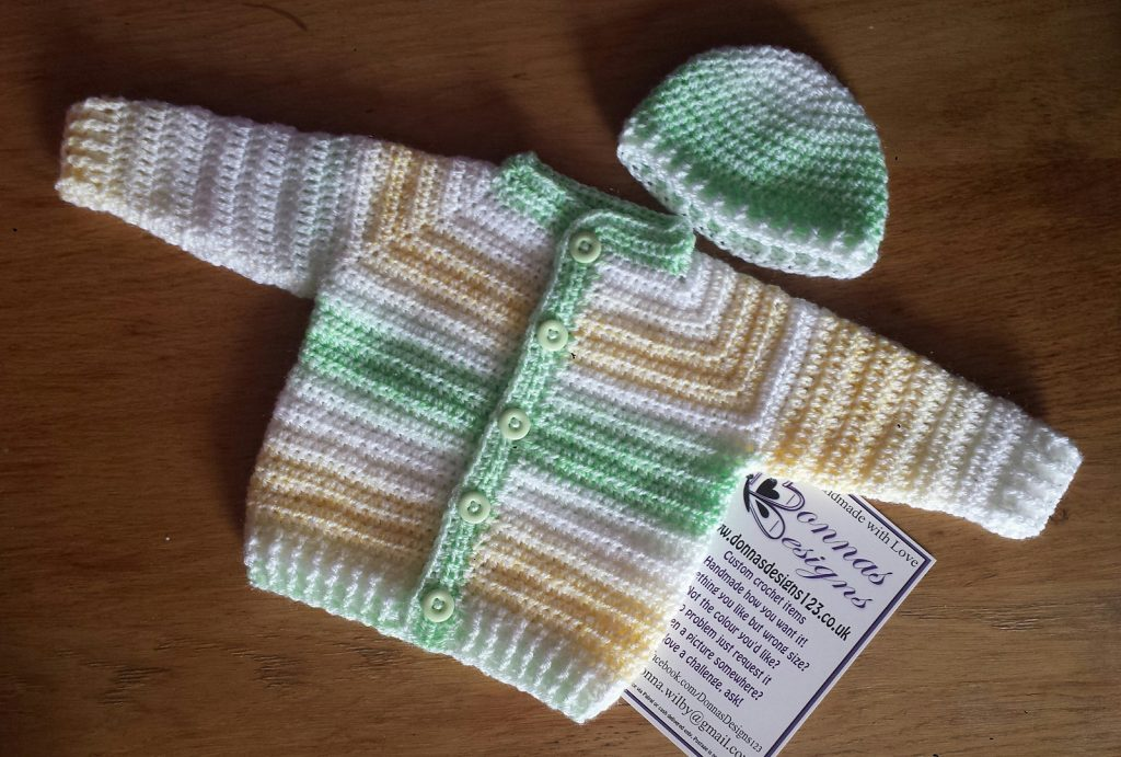 Easy Top Down Crochet Baby Sweater Set Pattern