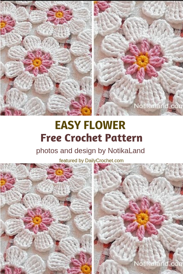Easy Crochet Flower Pattern - Knit And Crochet Daily