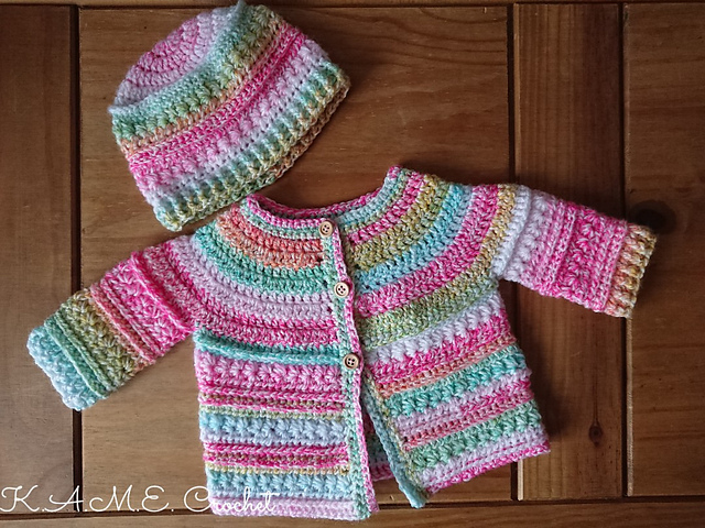 Textured Crochet Baby Sweater Set Pattern