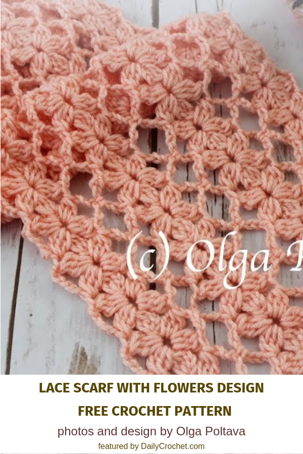 Lacy And Light Flower Scarf Crochet Pattern