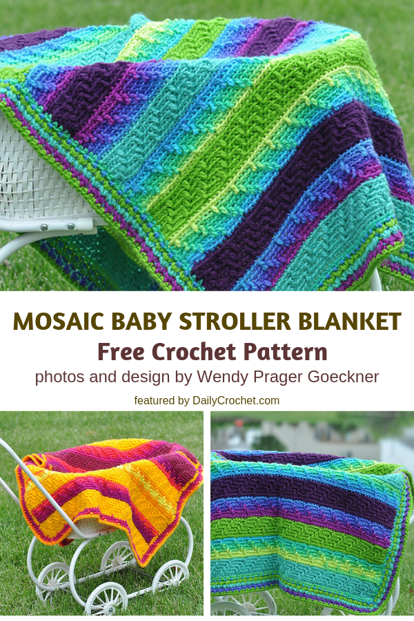 Mosaic Baby Stroller Blanket Crochet Pattern- Bright, Colourful And Very Warm