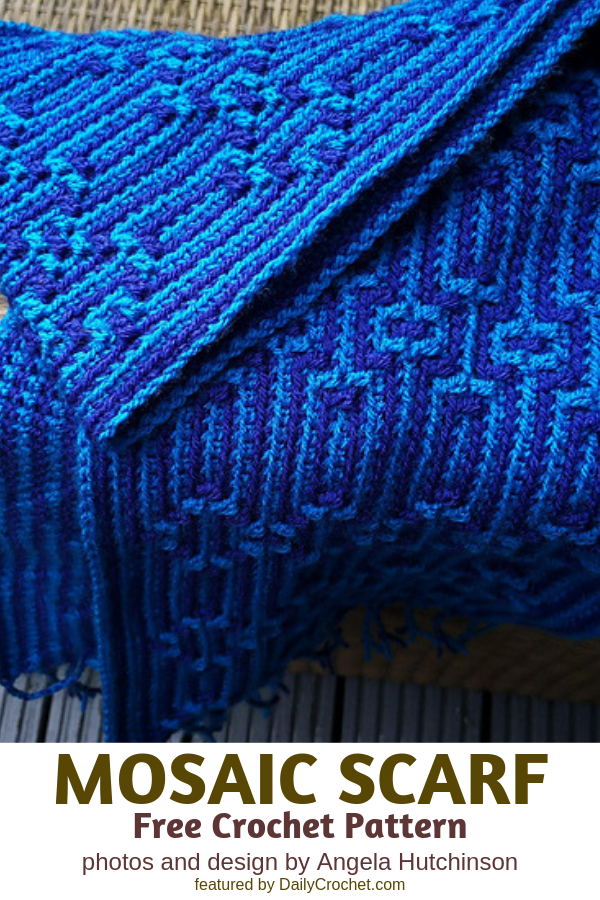 Spectacular Mosaic Scarf Free Crochet Pattern- So Easy!