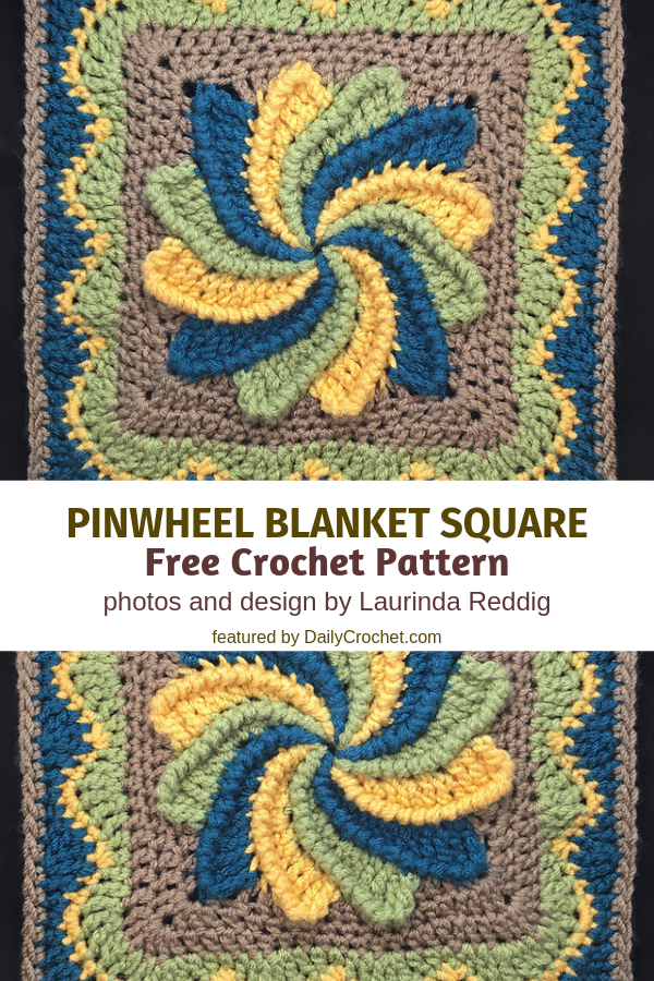 Fun And Colorful Pinwheel Blanket Square Free Crochet Pattern