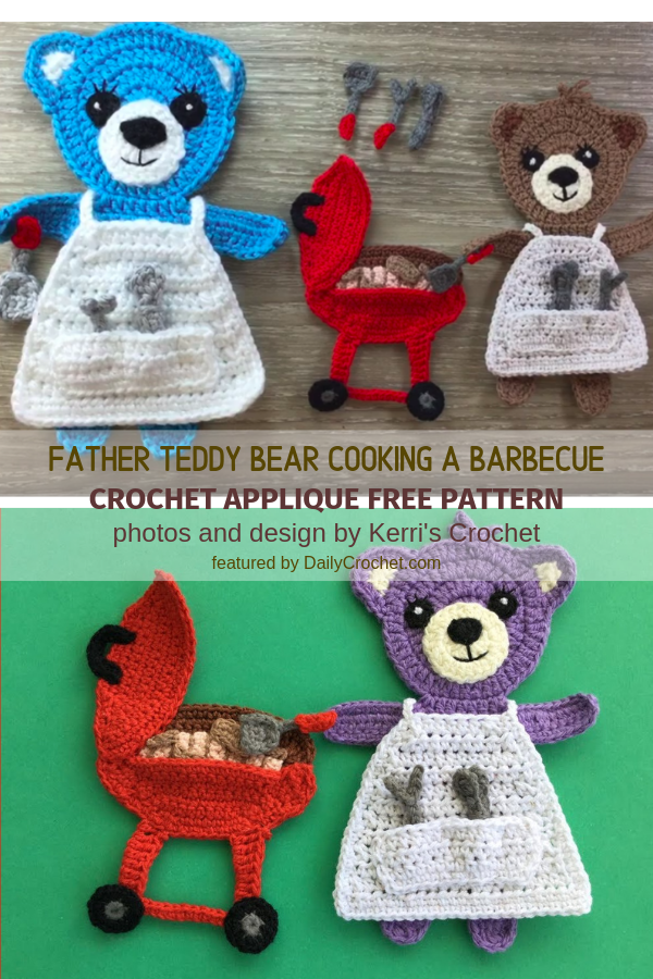 Father Teddy Bear Cooking A Barbecue Crochet Applique Free Pattern