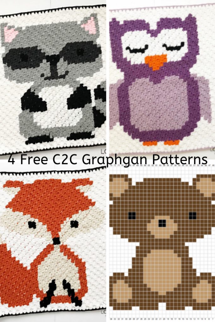 4 Free C2c Graphgan Patterns Featuring Woodland Animals Raccoon Fox Owl Bear Knit And Crochet Daily