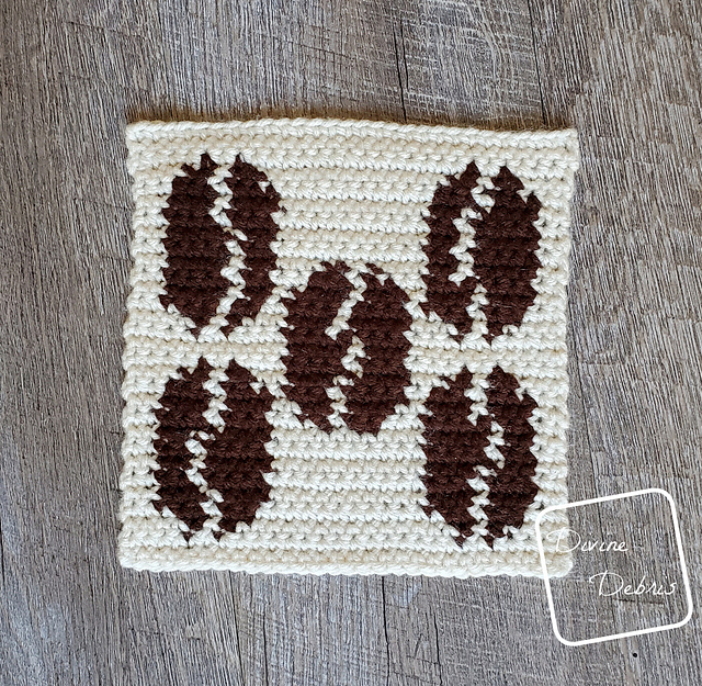 Coffee Beans Afghan Square For Tapestry Crochet Lovers