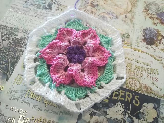 Crochet Hexagon Flower Pattern- Very Easy And Fast To Make