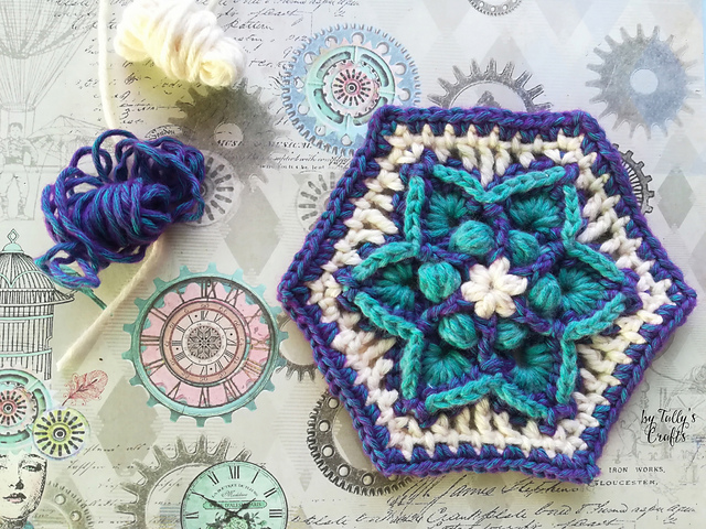 Gorgeous Star Flower Hexagon Crochet Pattern