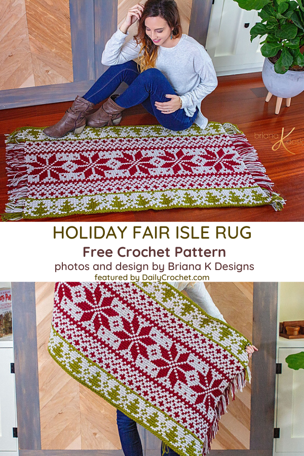 Festive Crochet Rectangle Rug Pattern For Holiday Season