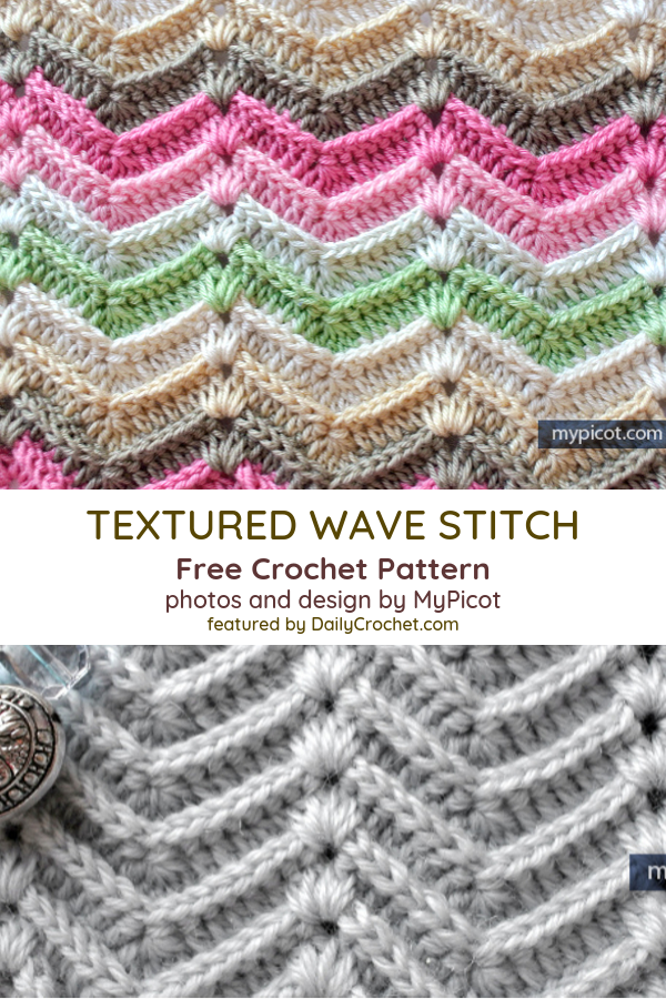 Learn A New Crochet Stitch: Crochet Textured Wave Stitch