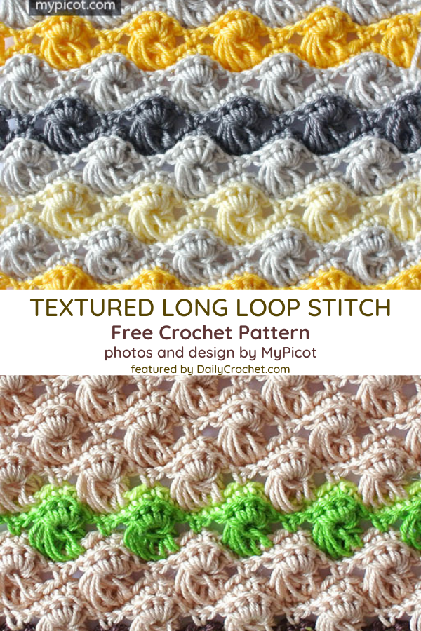 Learn A New Crochet Stitch: Crochet Textured Long Loop Stitch