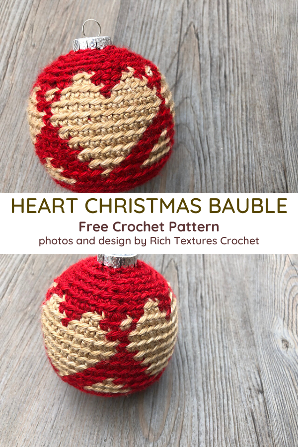 Christmas Heart Baubles Crochet Pattern