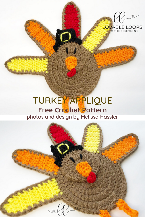Thanksgiving Turkey Applique Free Crochet Pattern
