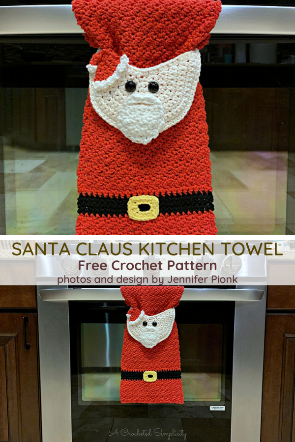 Santa Claus Crochet Christmas Kitchen Towel