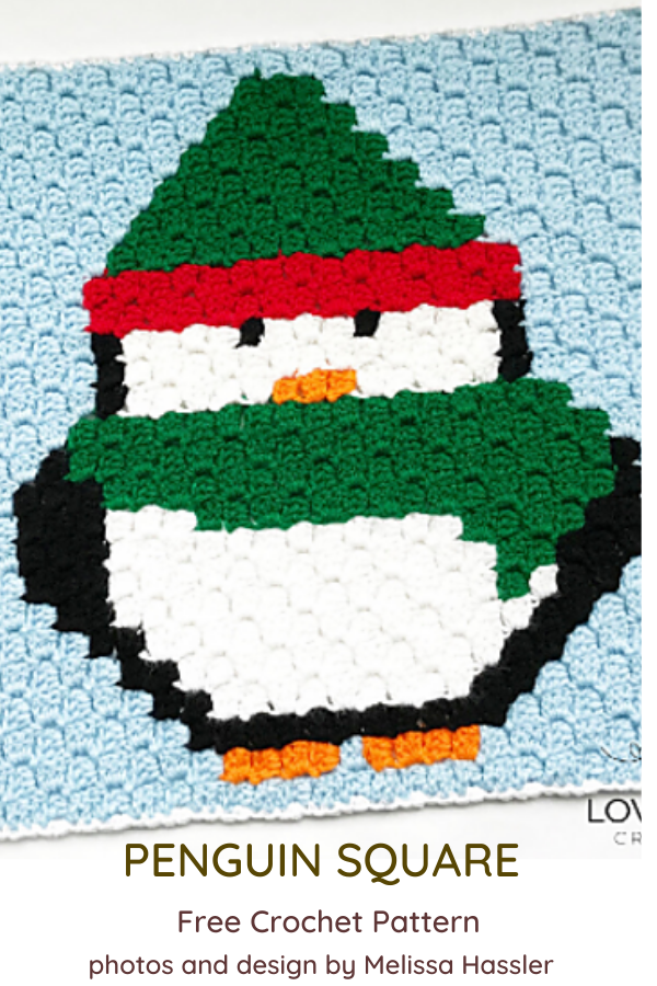 Crochet Corner To Corner Square Featuring A Cute Penguin