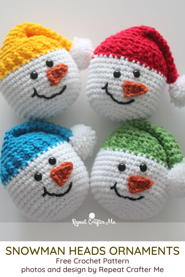 Crochet Snowman Heads Ornament- 12 Crochet Christmas Ornaments to Make Your Christmas Fun