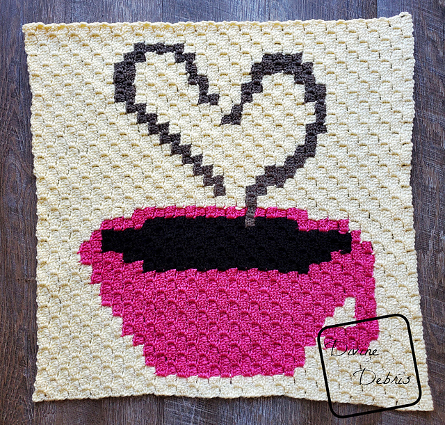 C2C Heart and Coffee Cup Afghan Square