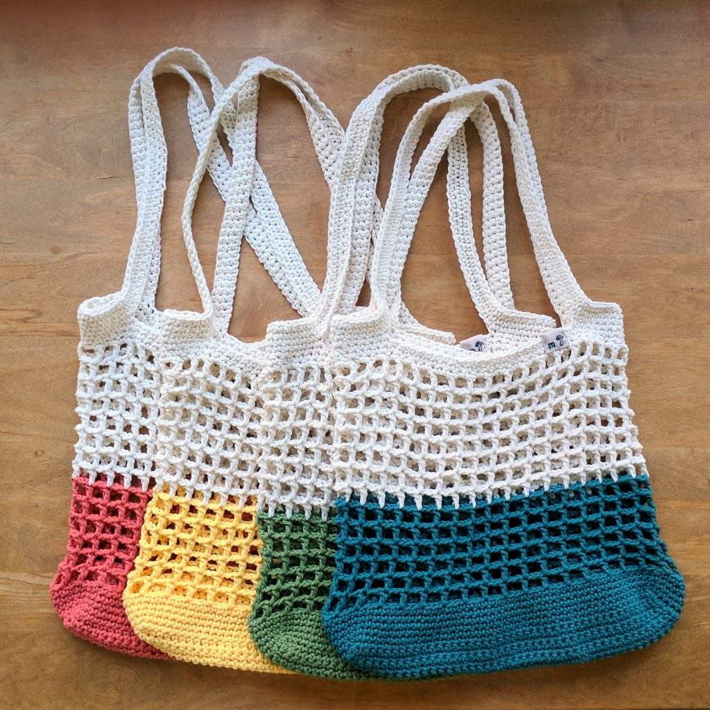 Color Block Crochet Grocery Bag