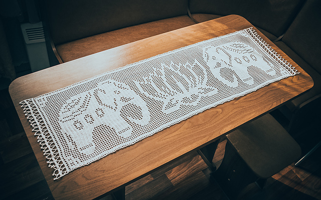 Crochet Tablecloth With Indian Elephants Design