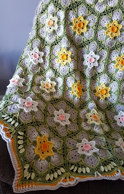 Splendid Crochet Daffodils And Narcissus Blanket Free Pattern