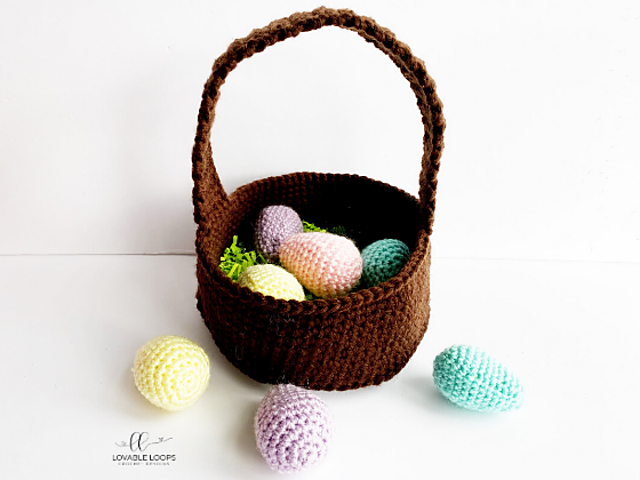 Crochet Easter Basket Pattern With Crochet Easter Eggs