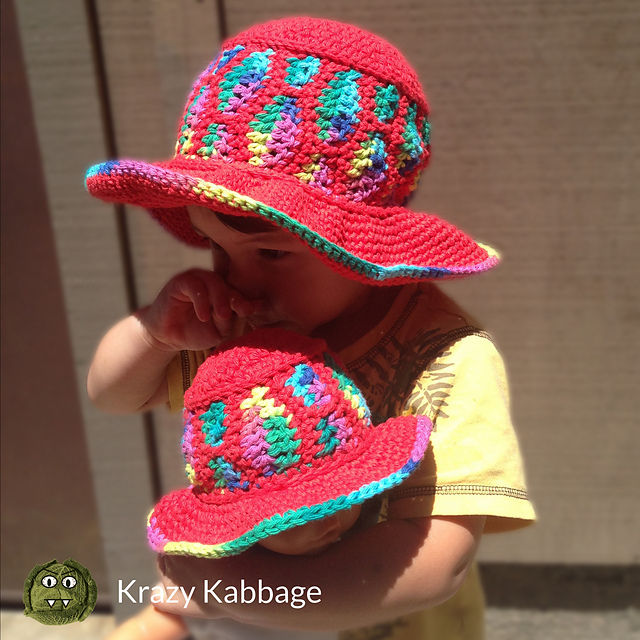 Free Crochet Sun Hat Pattern For Babies, Children, Adults And Dolls