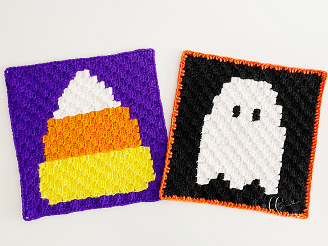 Halloween Granny Square Crochet Patterns: Candy Corn And Ghost C2C Afghan Blocks