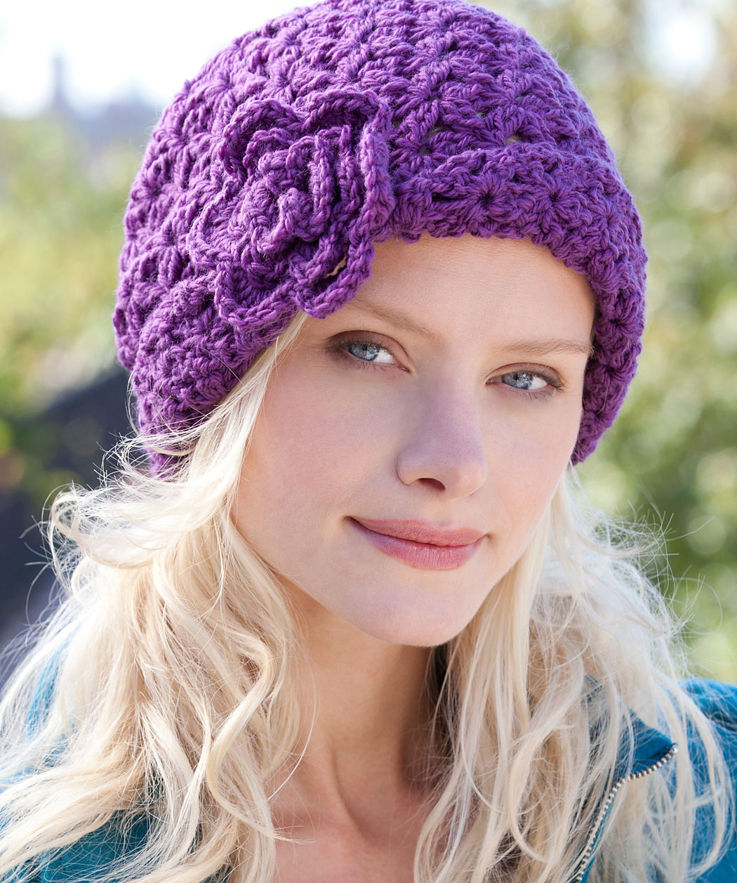 Crochet Hat With Flower On Side Pattern