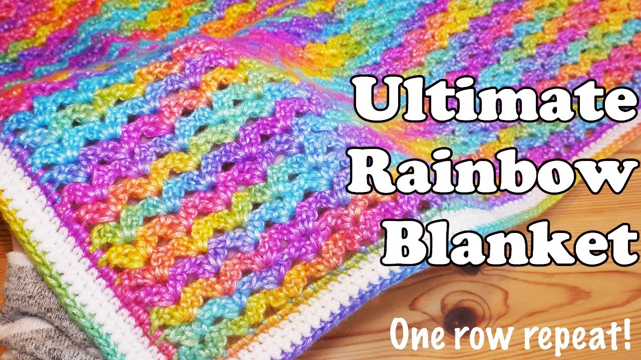 Easy One Row Repeat Rainbow Crochet Blanket Pattern (Video Tutorial)