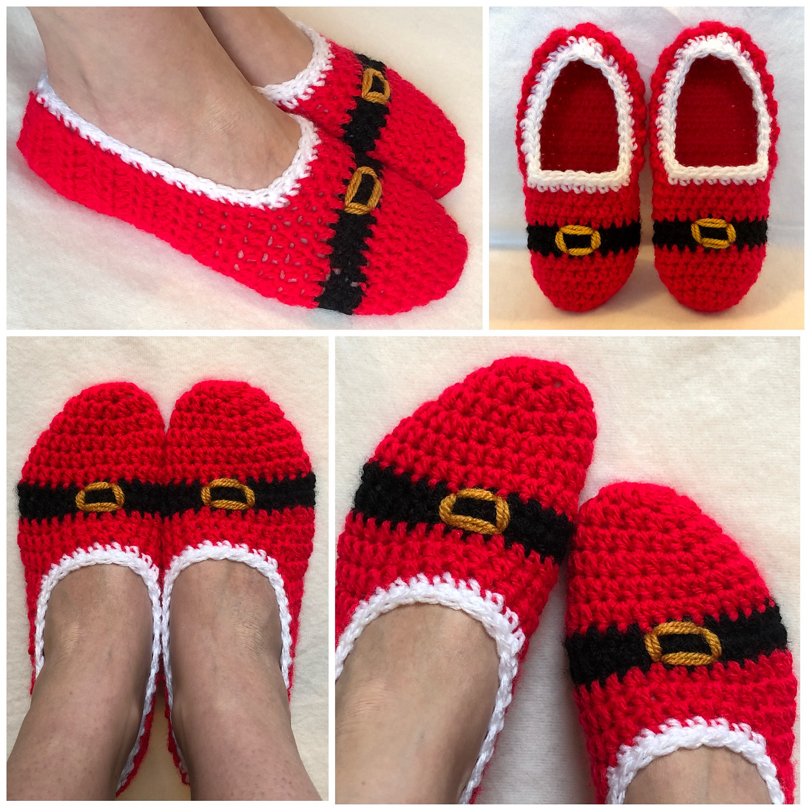 Free Crochet Christmas Slippers Pattern- Quick And Easy