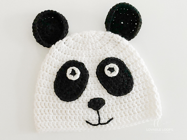 Panda Bear Hat Free Crochet Pattern- Crochet Hat All Sizes