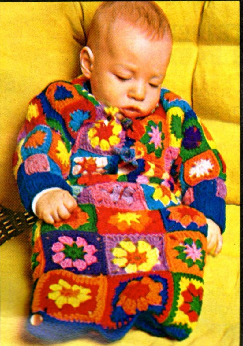 Granny Square Baby Bunting Free Crochet Pattern