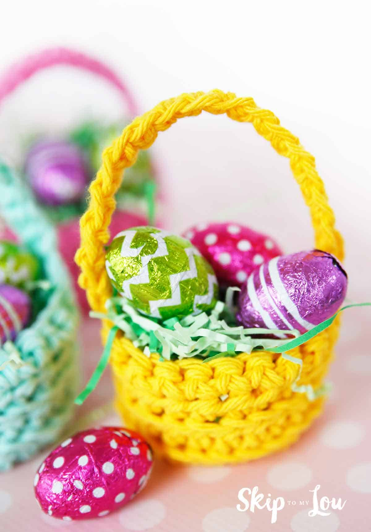 Mini Crochet Easter Basket Pattern -Crochet Easter Basket For Beginners