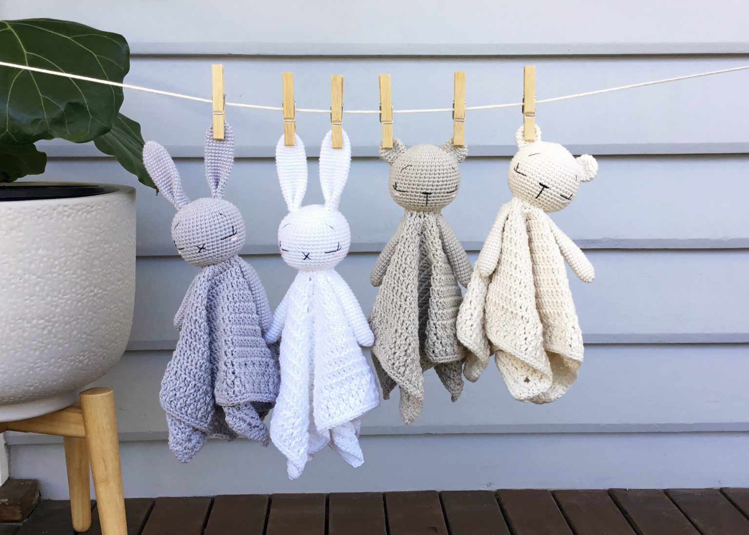 Cuddly Bear And Bunny Lovey Blanket Free Crochet Patterns