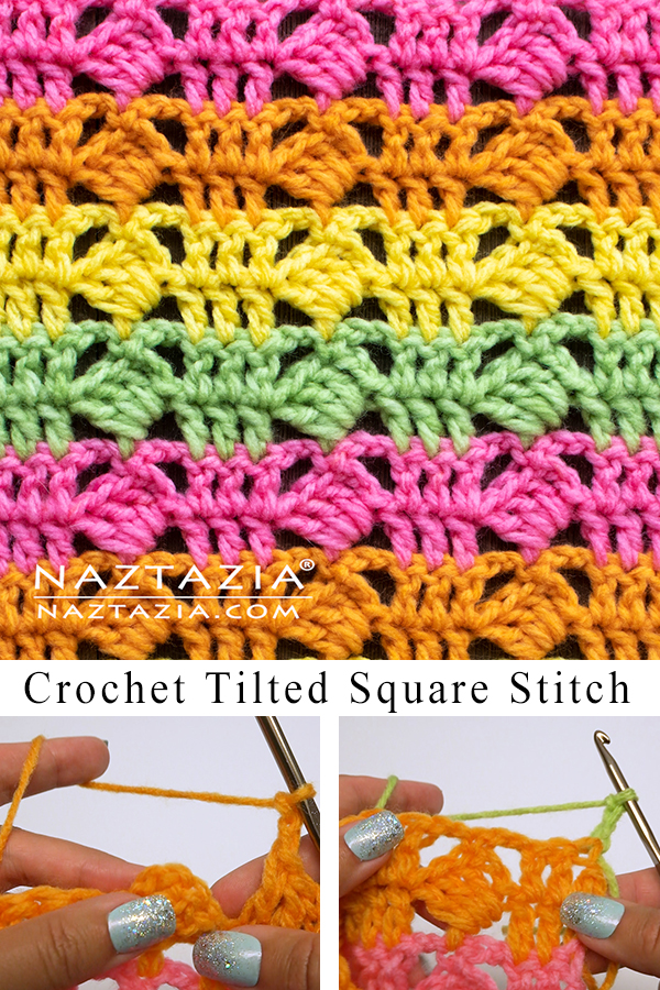Learn A New Crochet Stitch: Crochet Tilted Square Stitch Pattern