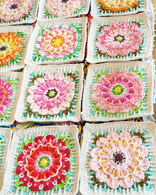 Beautiful Crochet Flower Squares Free Pattern