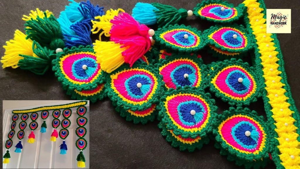 Crochet Peacock Feather Curtain Pattern- Free Crochet Curtain Patterns
