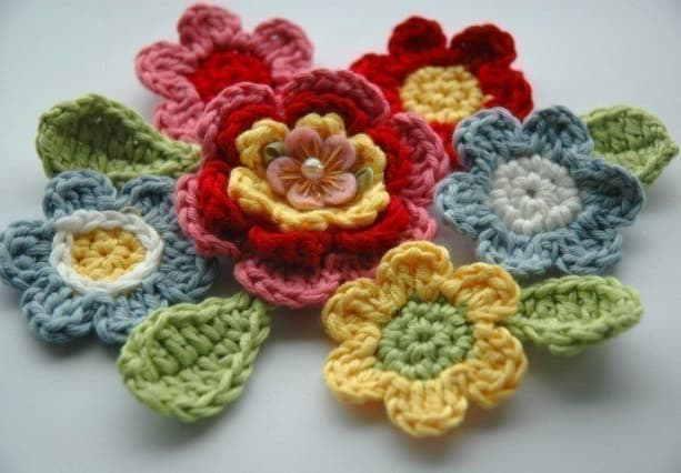 Blooming Crochet Flowers and Leaves