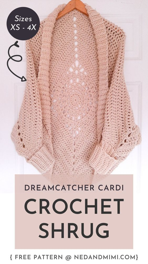 Chunky Crochet Shrug With A Dreamcatcher Motif On The Back