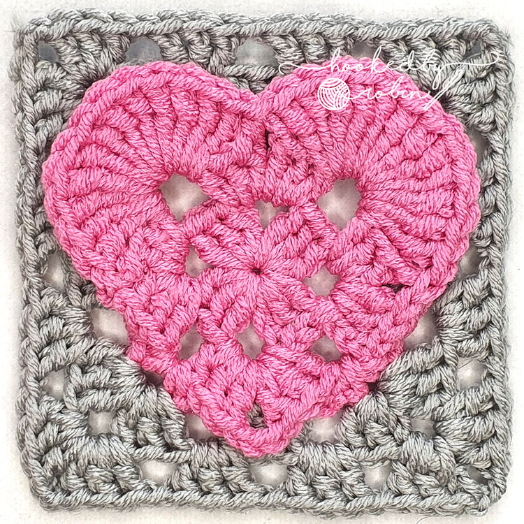 Heart Granny Square Written Pattern- The Most Brilliant Way To Turn A Heart Into A Square!