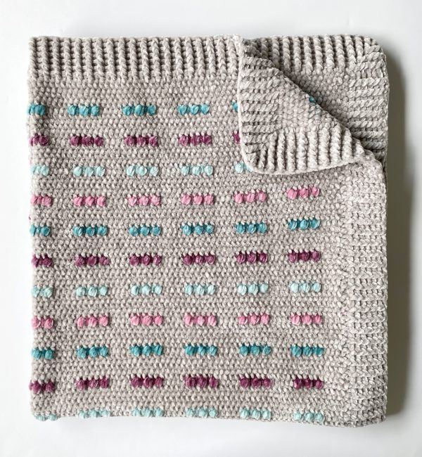 Easy Crochet Blanket Pattern With Colorful Puffs