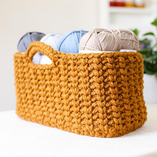 Stash Buster Crochet Basket- Large Rectangle Crochet Basket Free Pattern For Beginners