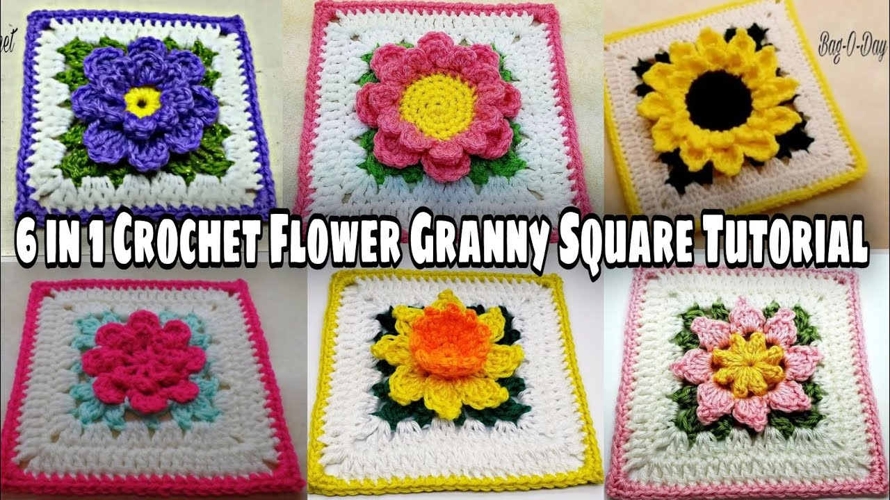 Crochet Granny Square With Flower Center Patterns